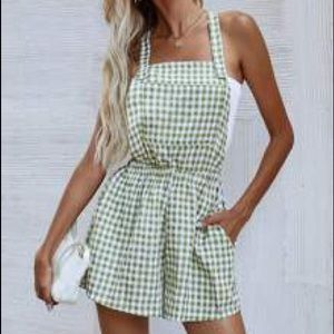NWT GREEN GINGHAM OVERALL ROMPER